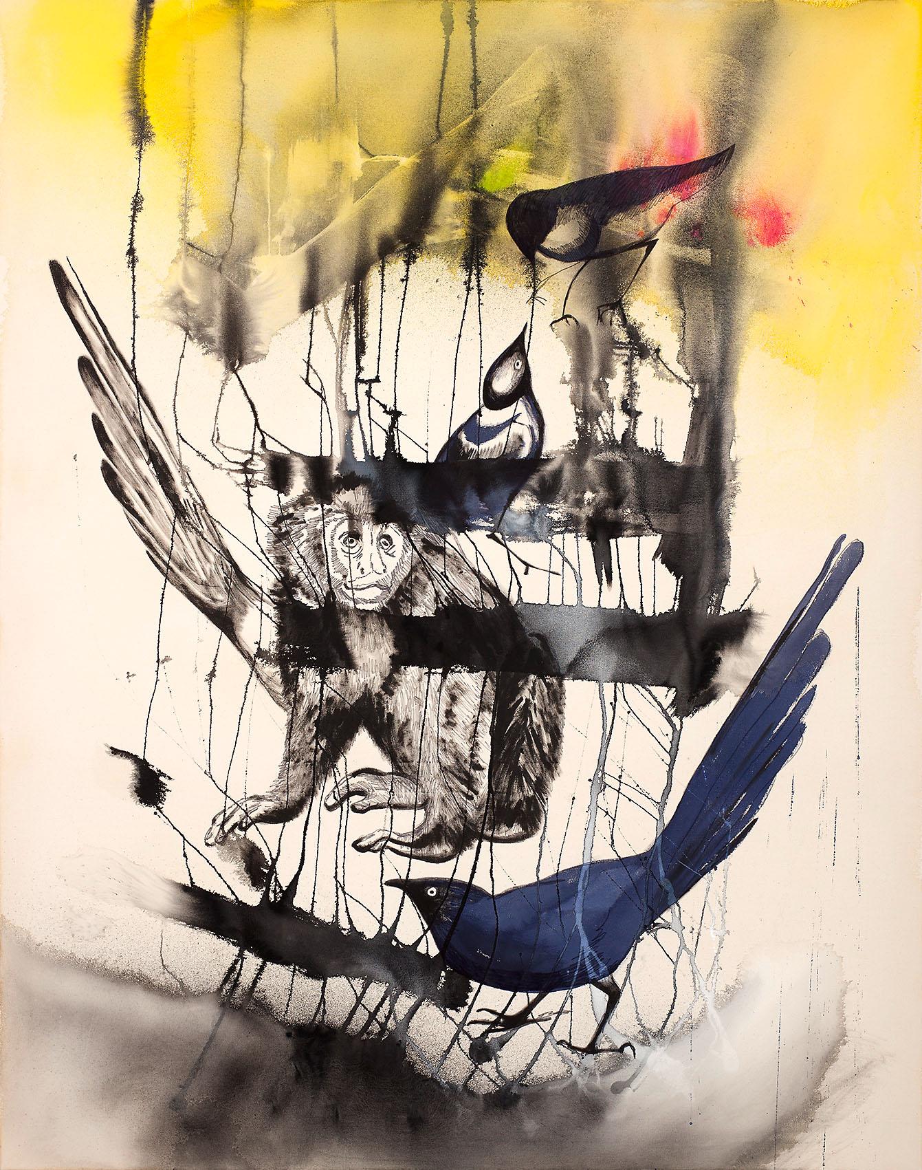 """o.T. aus """"Alm Alb Pacific"""", 2016, 240 x 190 cm, Mischtechnik auf Leinwand"""