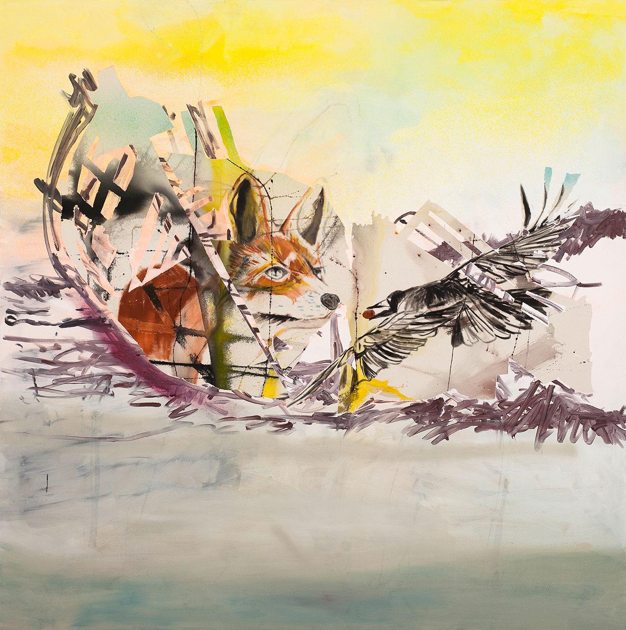 """o.T. aus """"Alm Alb Pacific"""", 2016, 210 x 210 cm, Mischtechnik auf Leinwand"""