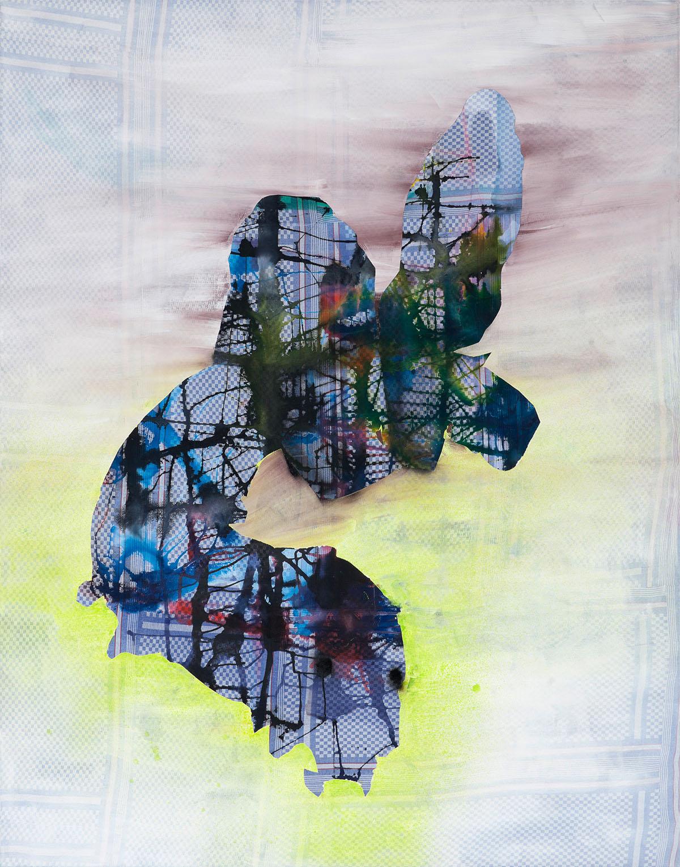 """o.T. aus """"Alm Alb Pacific"""", 2014, 240 x 190 cm, Mischtechnik auf Geschirrtüchern"""