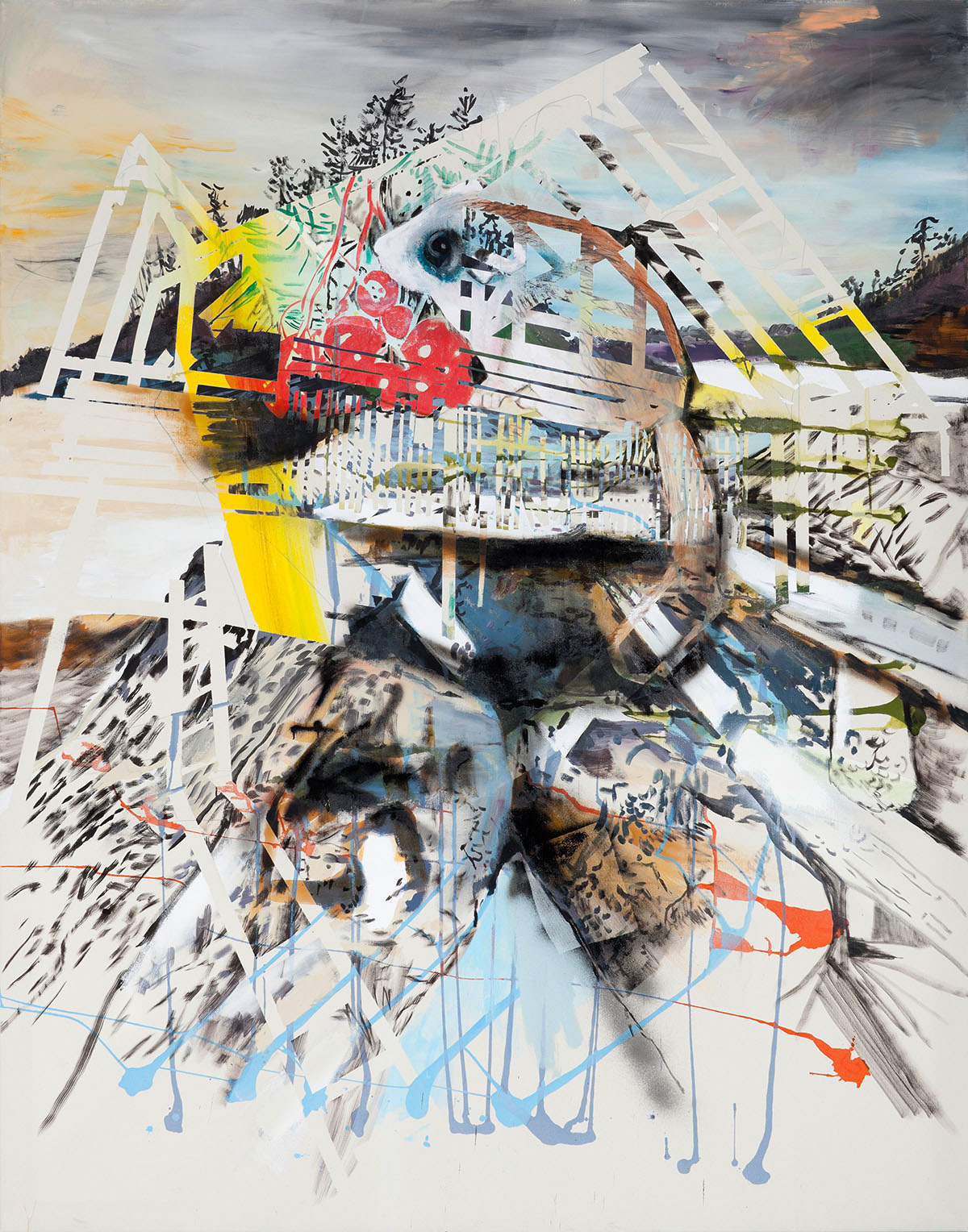 """o.T. aus """"Alm Alb Pacific"""", 2014, 240 x 190 cm, Mischtechnik auf Leinwand"""