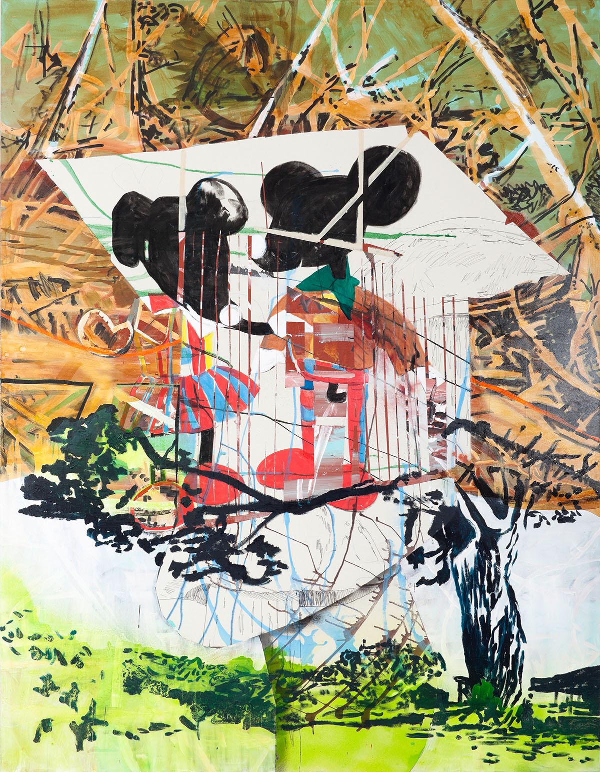 """o.T. aus """"Alm Alb Pacific"""", 2014, 270 x 210 cm, Mischtechnik auf Leinwand"""