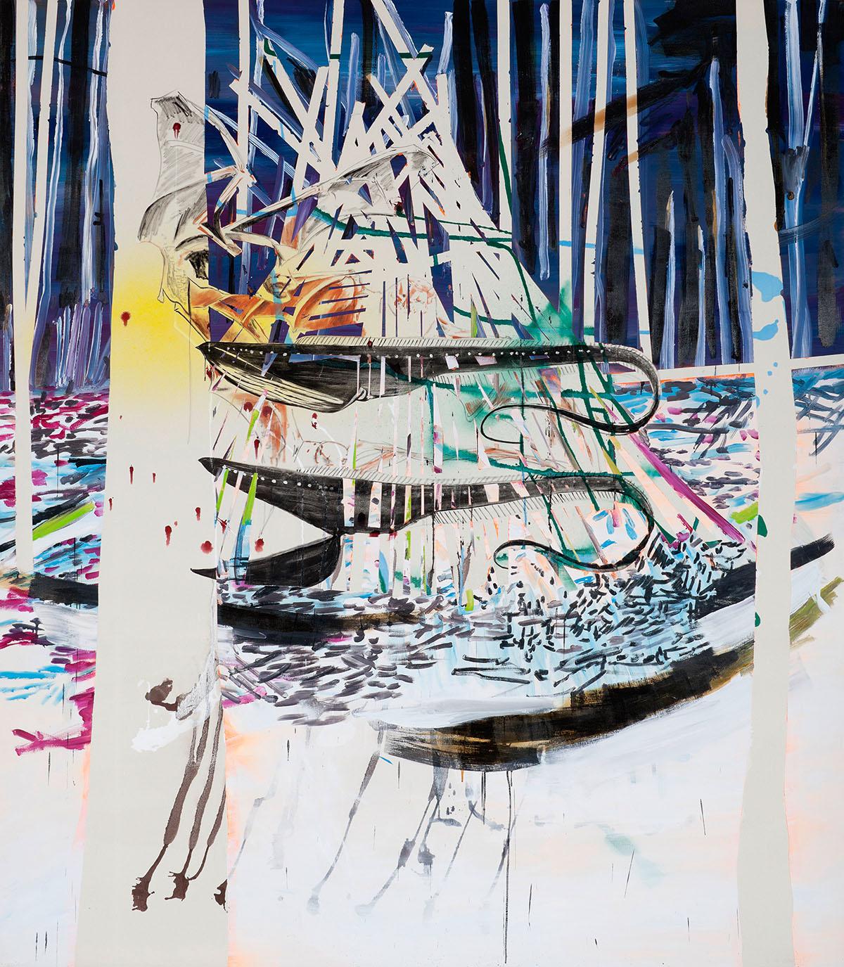 """o.T. aus """"Alm Alb Pacific"""", 2014, 240 x 210 cm, Mischtechnik auf Leinwand"""