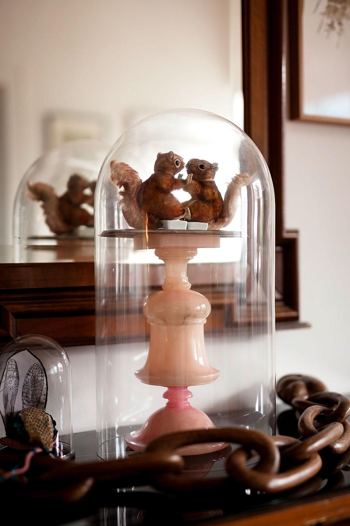 """""""A & B"""" aus """"Endemisches Kollegium"""", 2016, 45 x 24 x 24 cm, Eichhörnchen der Fa. Steiff aus den 60er Jahren, Porzellan, Tablett versilbert, Halbedelstein, Glasdom"""