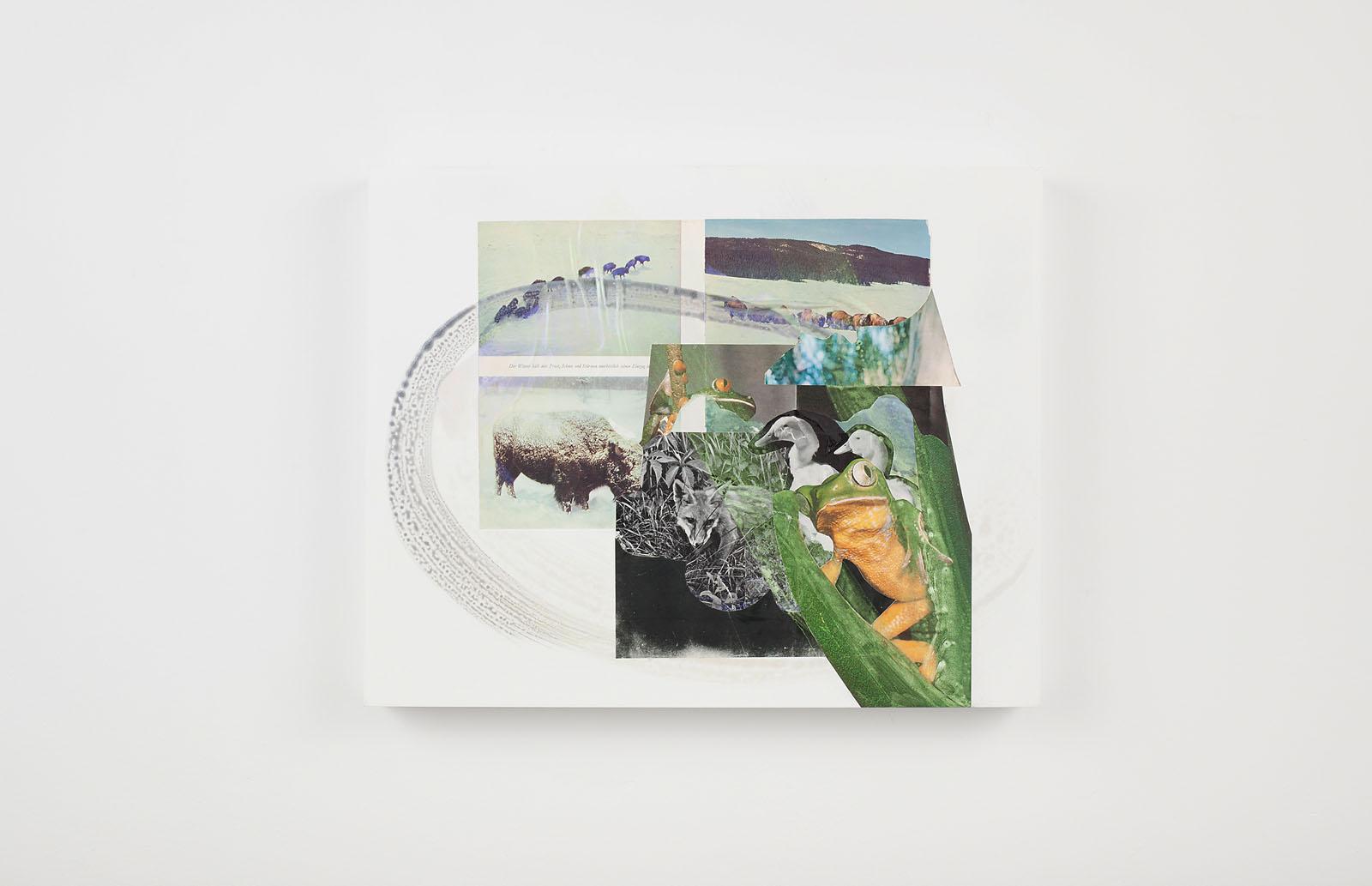"o.T. aus ""Petrichor"", 2018, 40 x 50 cm, Mischtechnik & Collage auf Holz"