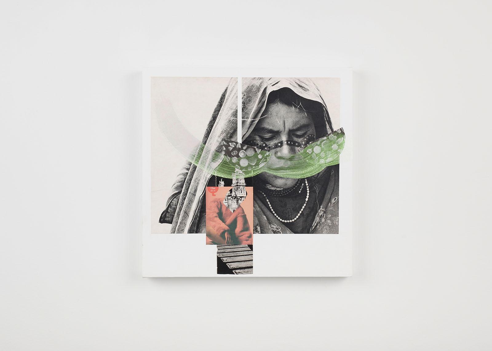 """o.T. aus """"Petrichor"""", 2017, 40 x 40 cm, Mischtechnik & Collage auf Leinwand"""