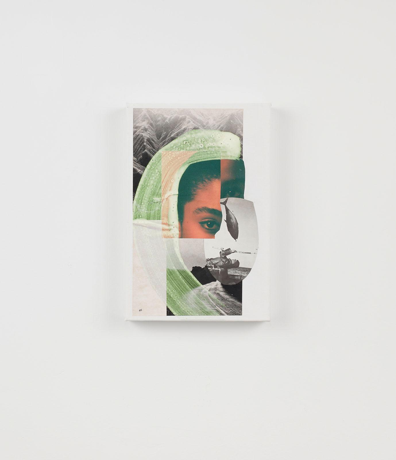 """o.T. aus """"Petrichor"""", 2017, 30 x 20 cm, Mischtechnik & Collage auf Leinwand"""