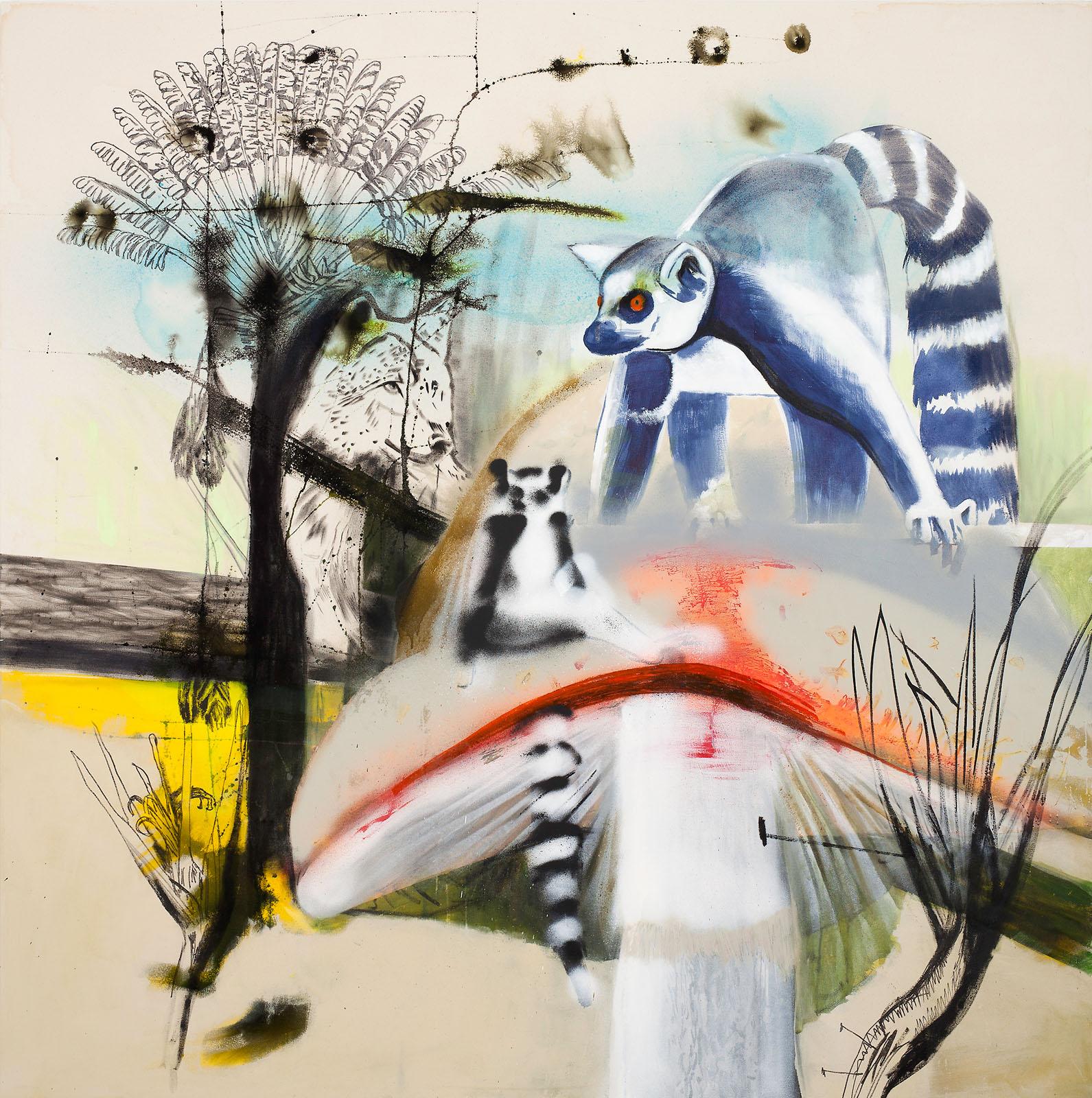 "o.T. aus ""Petrichor"", 2017, 200 x 200 cm, Mischtechnik auf Leinwand"