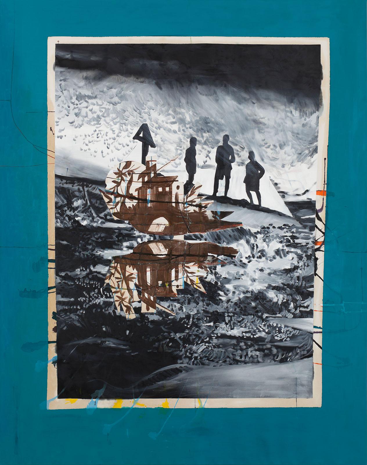 """o.T. aus """"Wenig Zeit zwischen zwei Fingern"""", 2013, 240 x 190 cm, Mischtechnik auf Leinwand"""