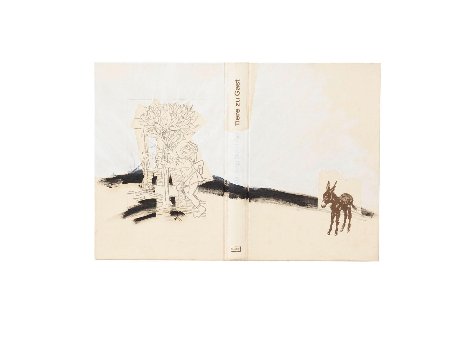 """o.T. aus """"Wenig Zeit zwischen zwei Fingern"""", 2017, Mischtechnik auf Bucheinband"""