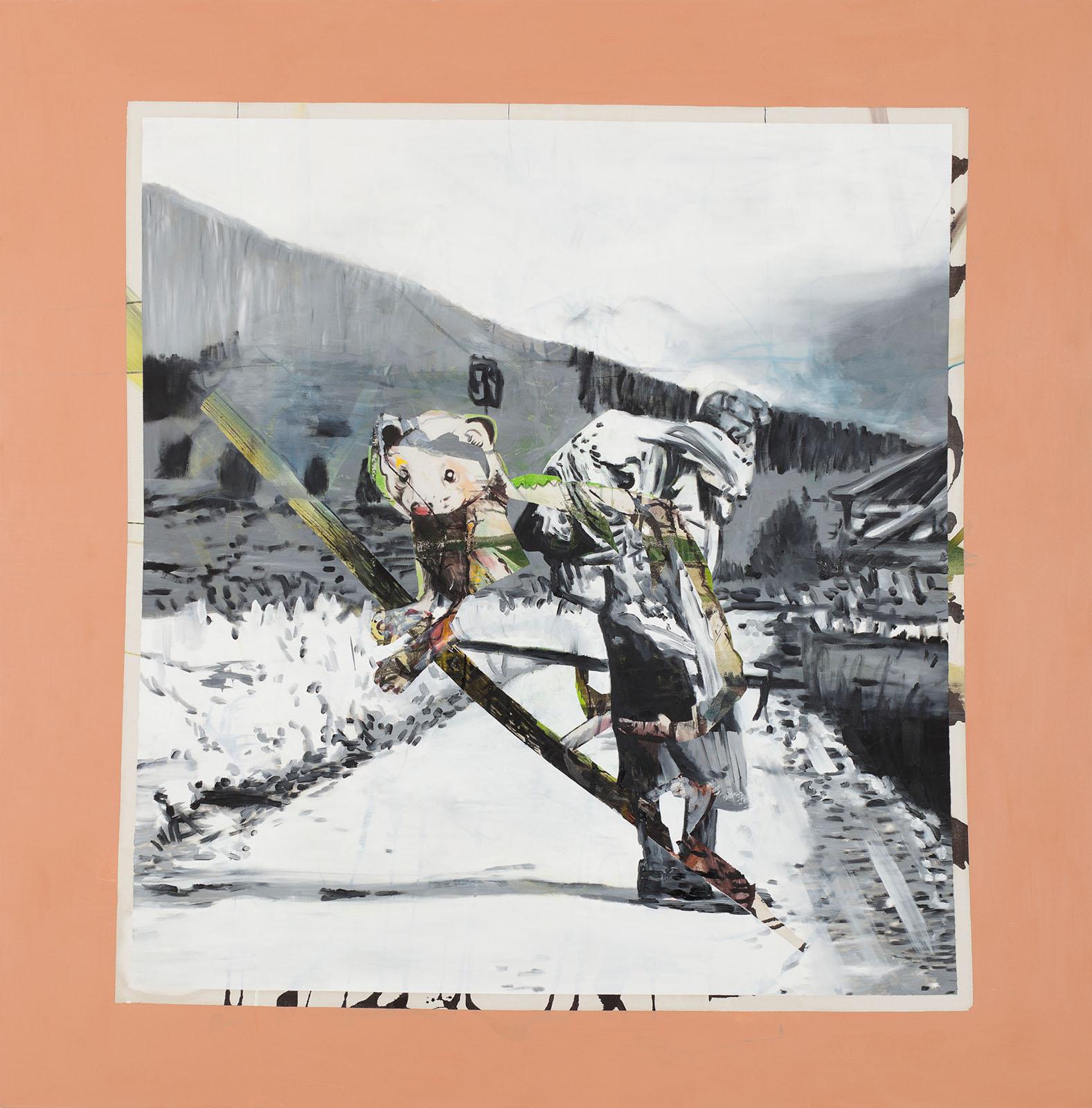 """o.T. aus """"Wenig Zeit zwischen zwei Fingern"""", 2013, 200 x 200 cm, Mischtechnik auf Leinwand"""