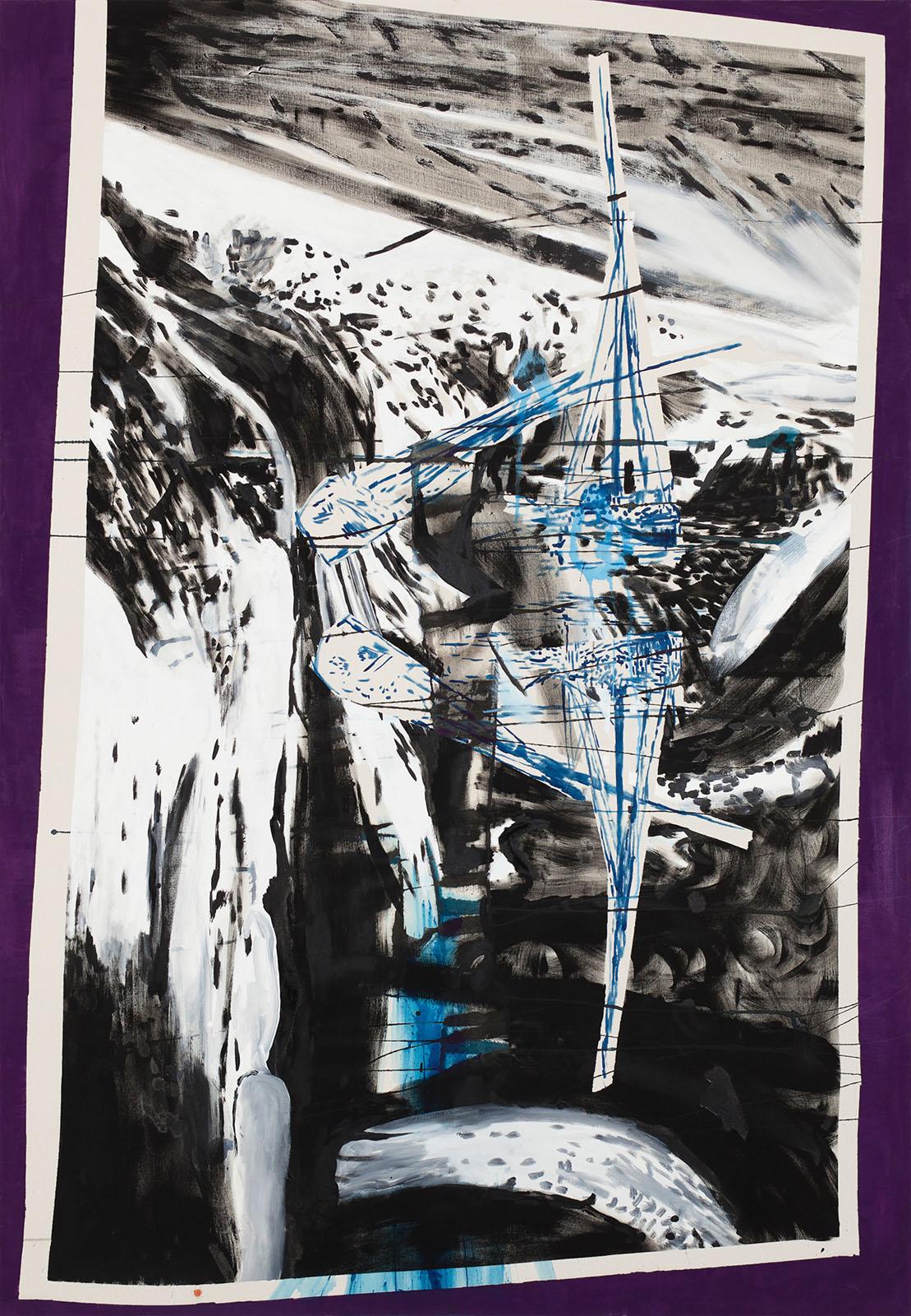 """o.T. aus """"Wenig Zeit zwischen zwei Fingern"""", 2013, 200 x 140 cm, Mischtechnik auf Leinwand"""