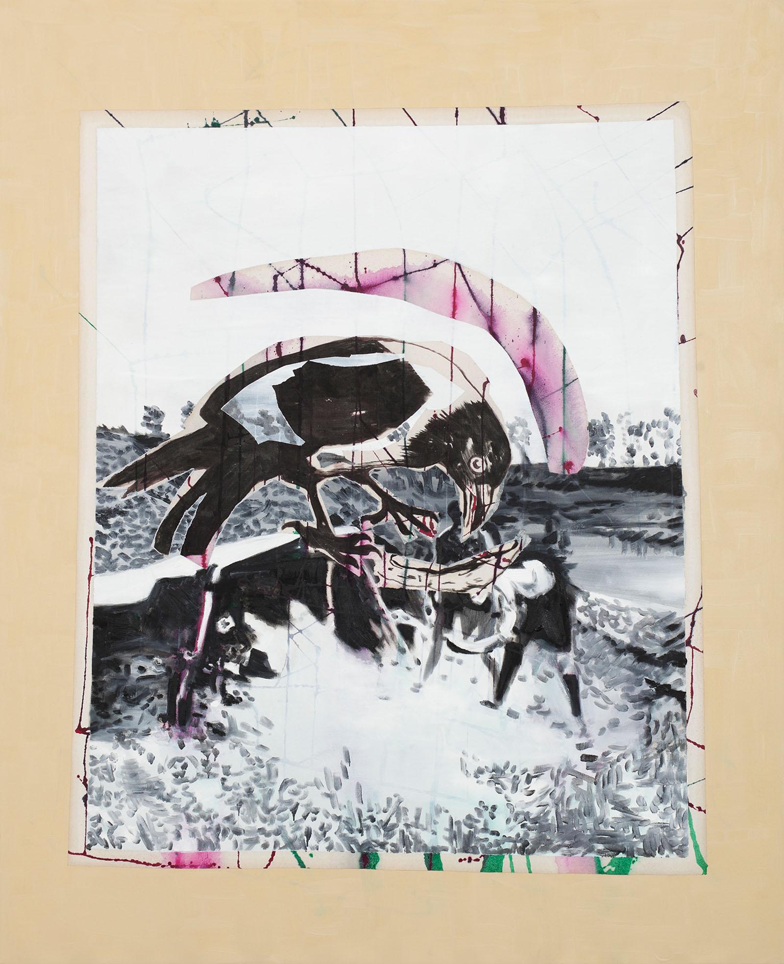 """o.T. aus """"Wenig Zeit zwischen zwei Fingern"""", 2013, 160 x 130 cm, Mischtechnik auf Leinwand"""