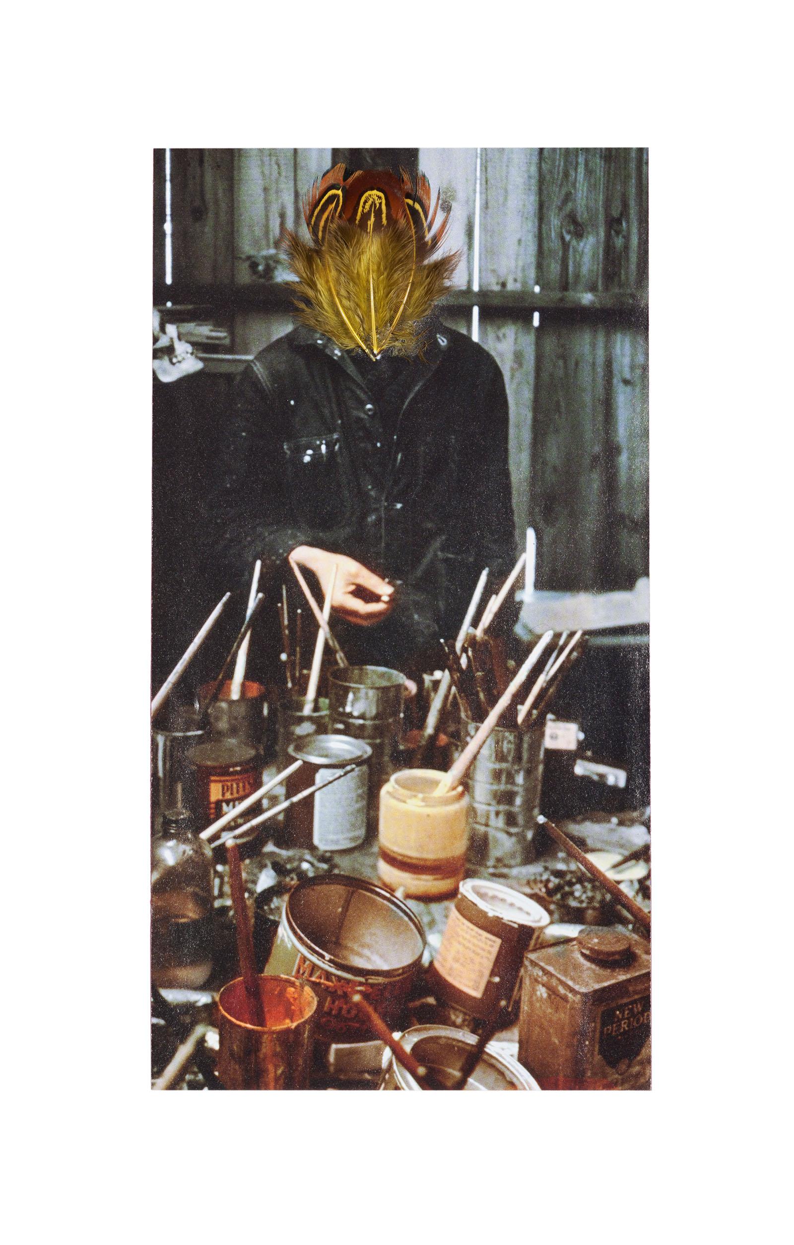 """o.T. aus """"Buben"""", 2014, ca. 28 x 20,5 cm, Federassemblage auf Magazinseite"""