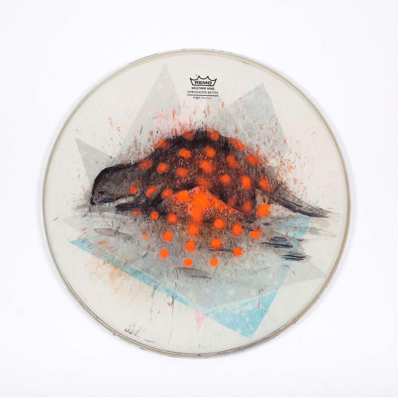 """o.T. aus """"Felle"""", 2015, Ø 36 cm, Mischtechnik & Collage auf Drum-Head"""