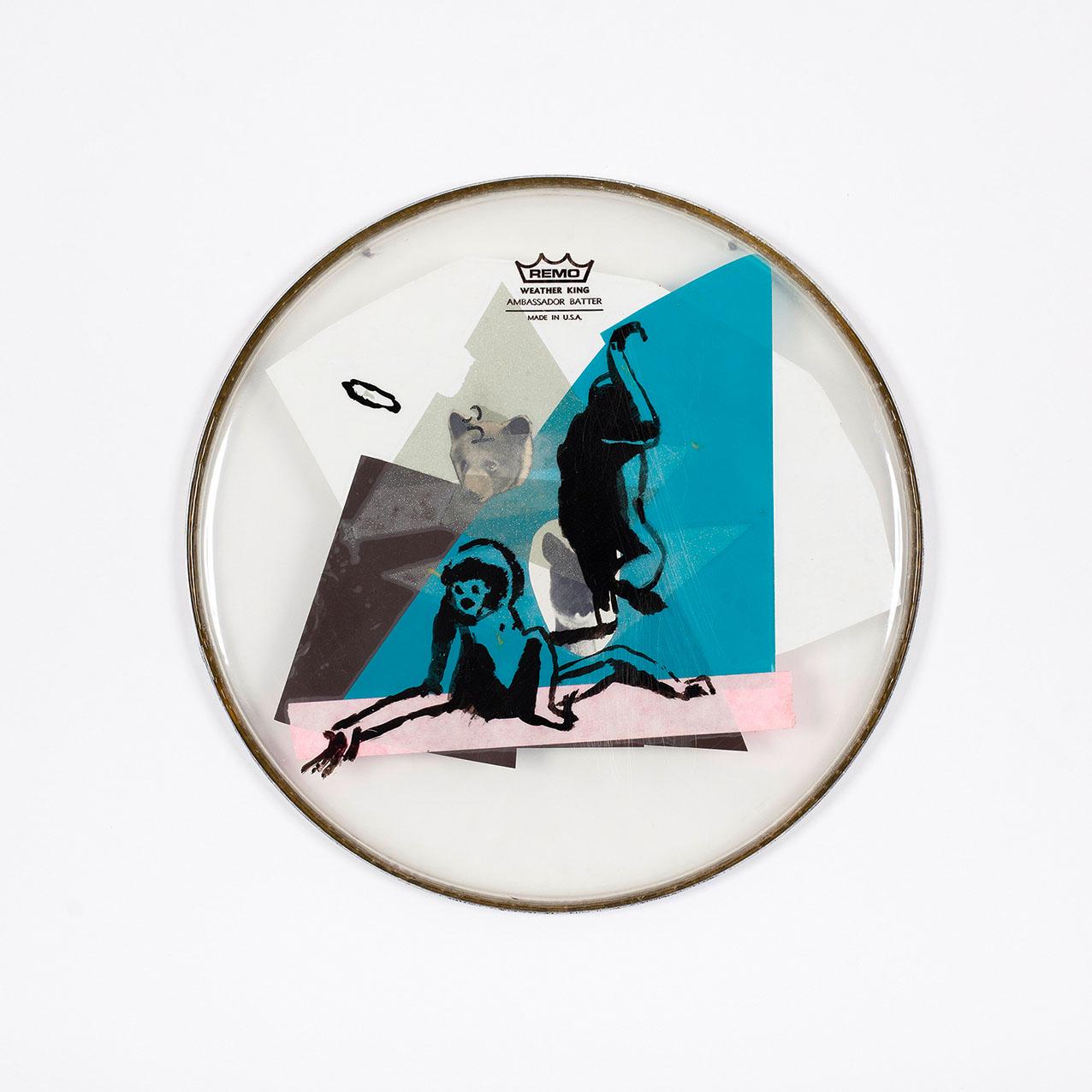 """o.T. aus """"Felle"""", 2015, Ø 27 cm, Mischtechnik & Collage auf Drum-Head"""