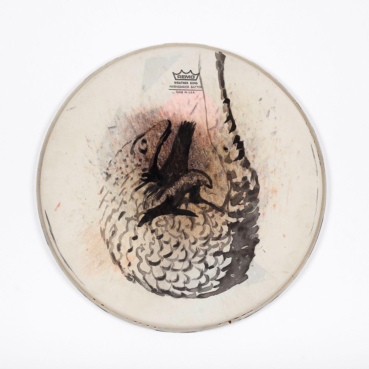 """o.T. aus """"Felle"""", 2015, Ø 36 cm, Mischtechnik auf Drum-Head"""