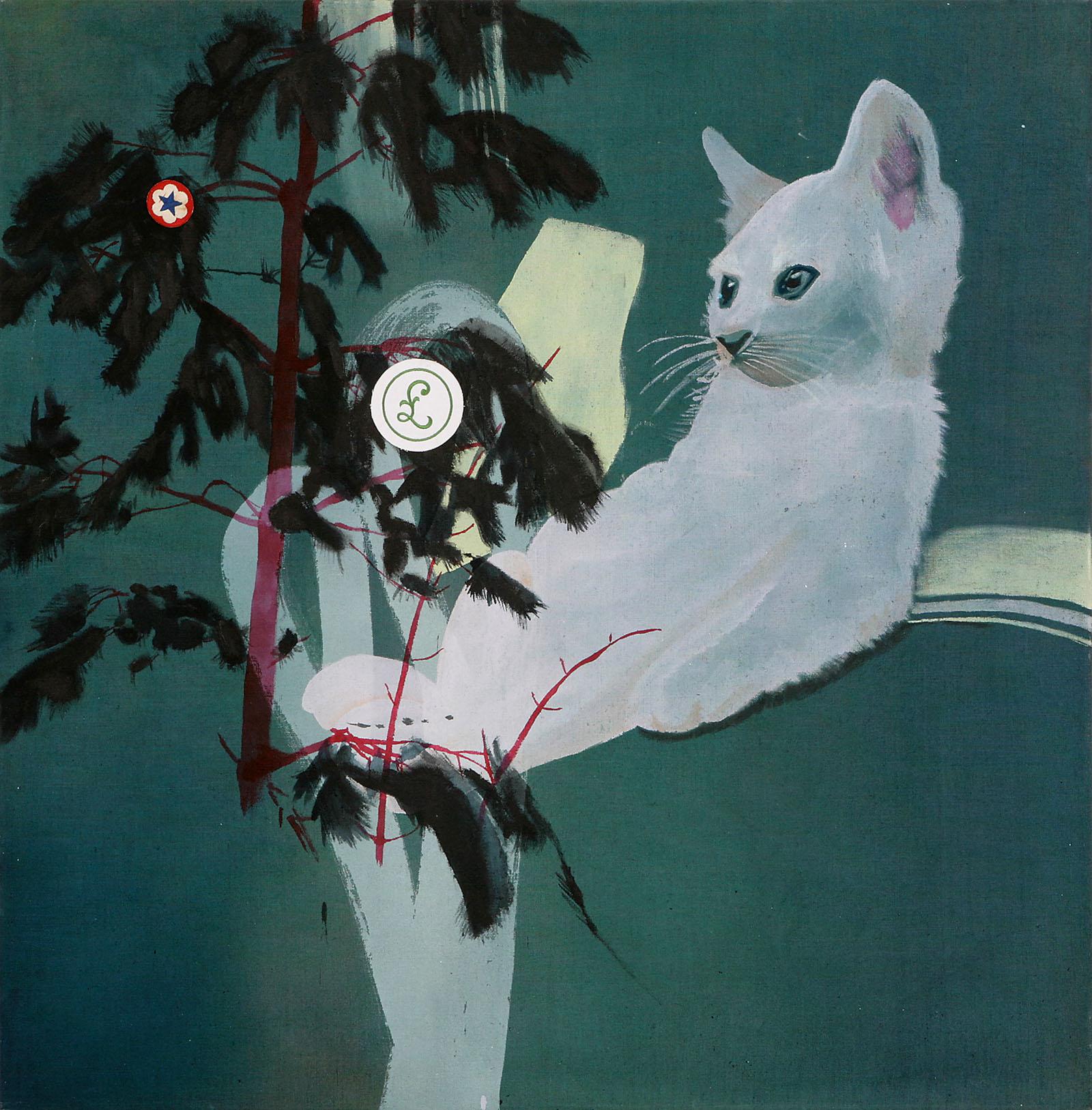 """o.T. aus """"Krähen Kommen"""", 2008, 130 x 130 cm, Mischtechnik & Applikationen auf Leinwand"""