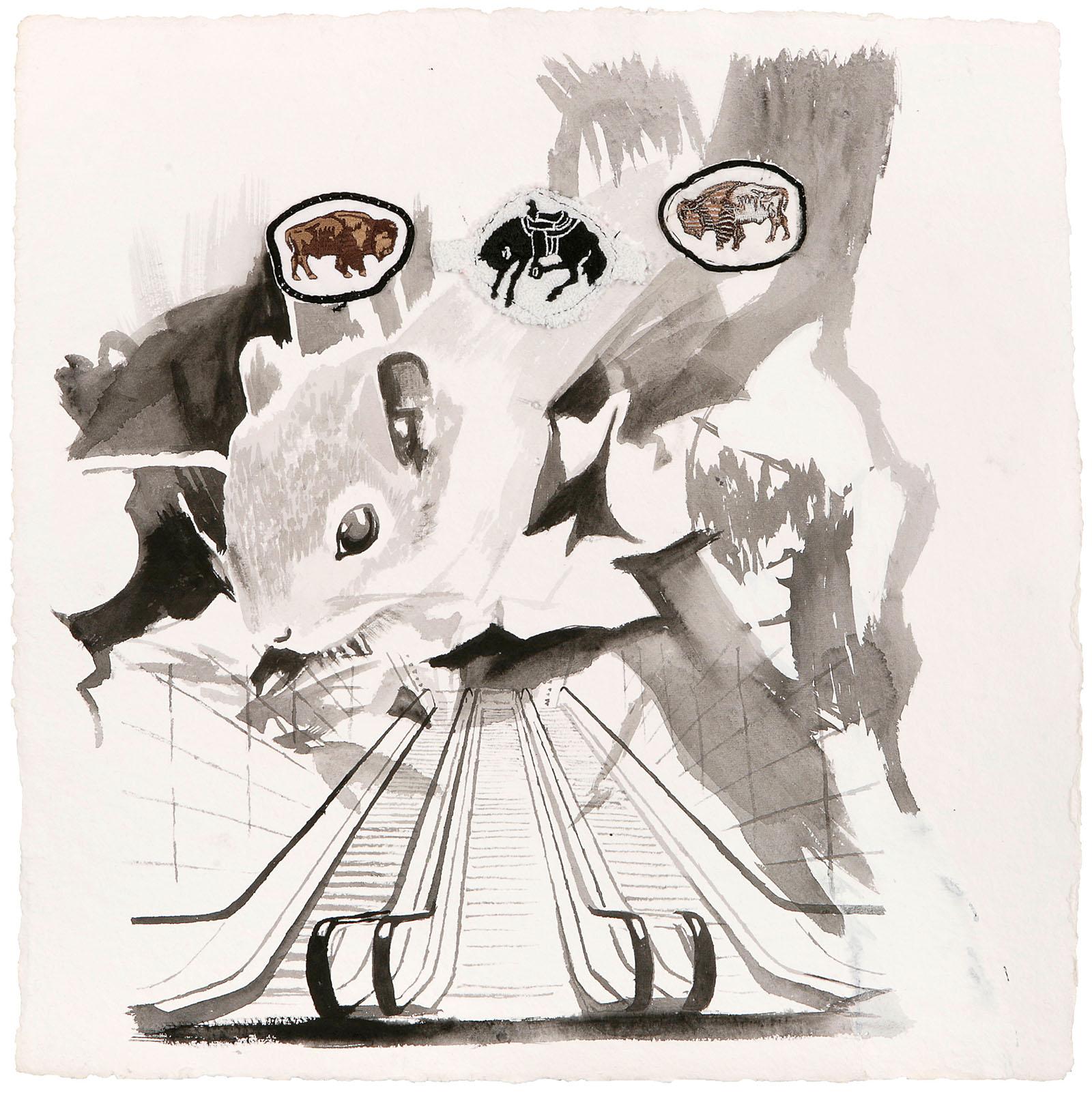 "o.T. aus ""Krähen Kommen"", 2008, 50 x 50 cm, Aquarell & Applikationen auf handgeschöpftem Bütten"