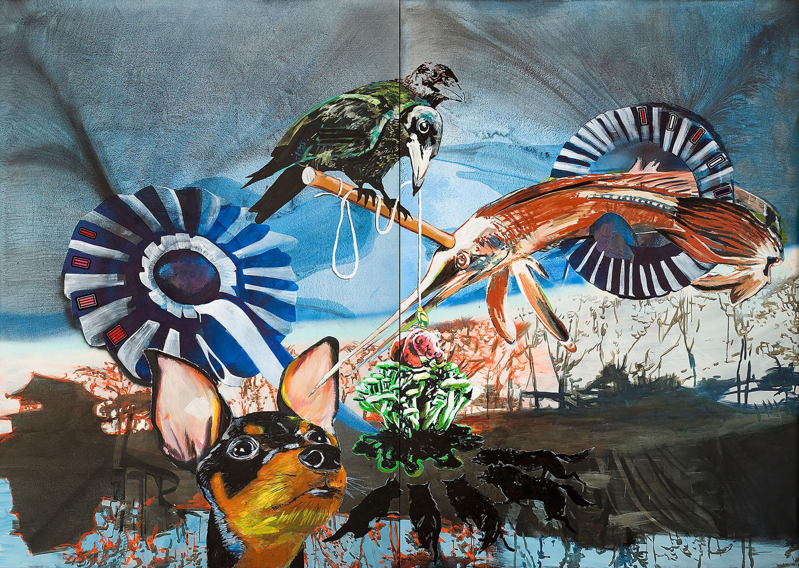 """o.T. aus """"Krähen Kommen"""", 2008, 270 x 380 cm, 2-teilig, Mischtechnik & Applikationen auf Leinwand"""