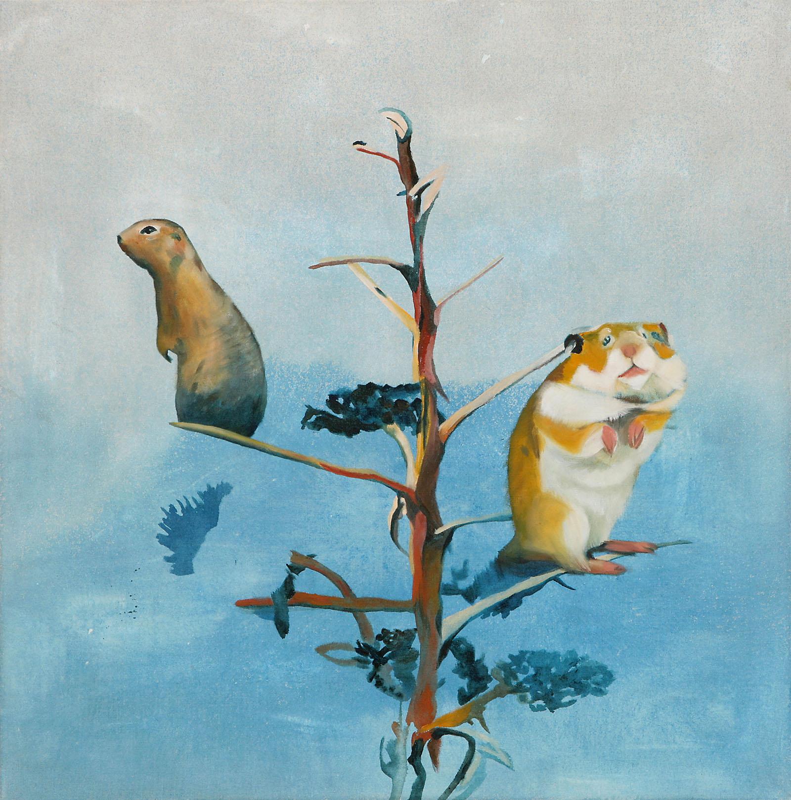 """o.T. aus """"Krähen Kommen"""", 2008, 130 x 130 cm, Mischtechnik auf Leinwand"""