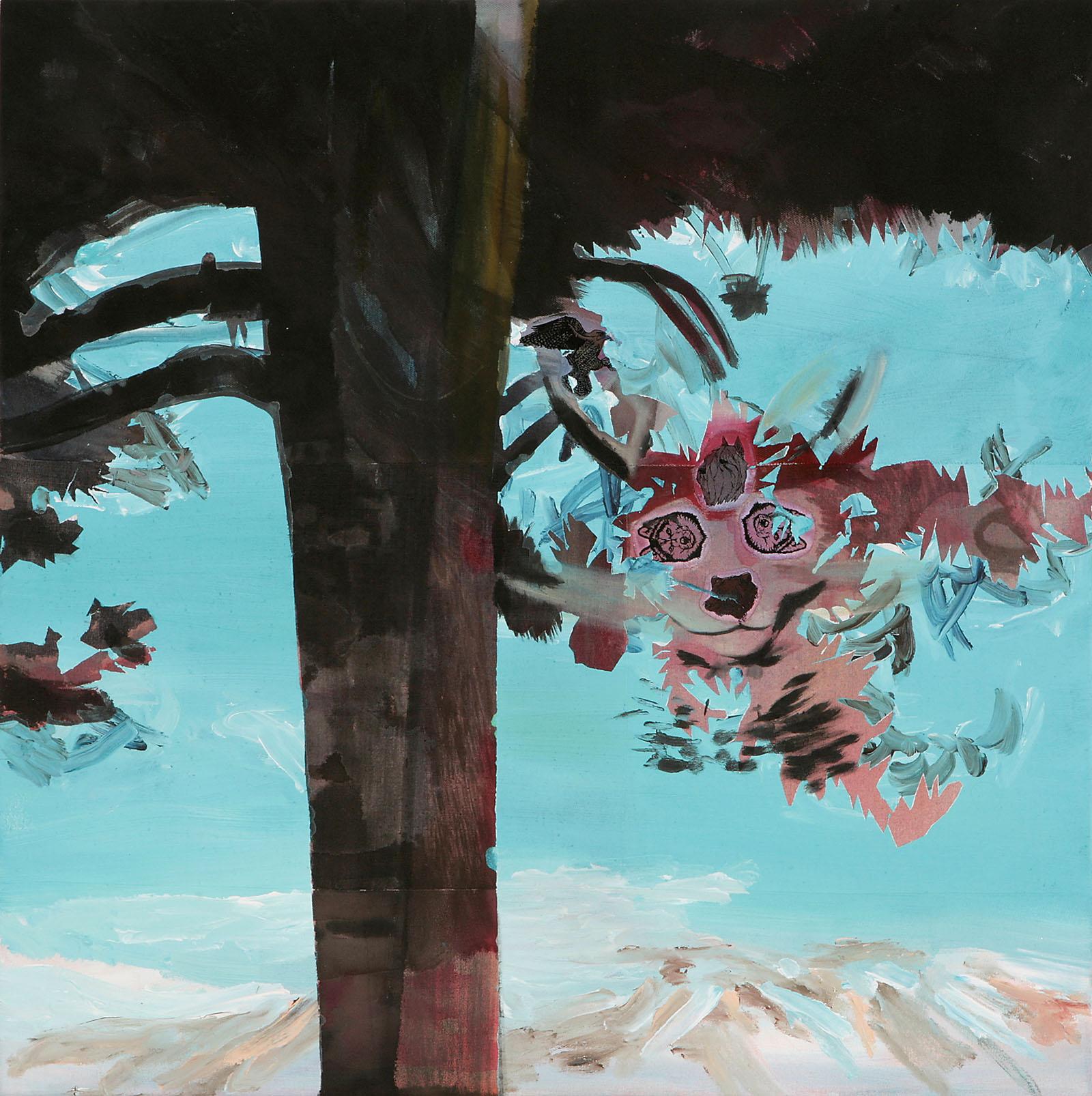 """o.T. aus """"Krähen Kommen"""", 2008, 90 x 90 cm, Mischtechnik & Applikationen auf Leinwand"""