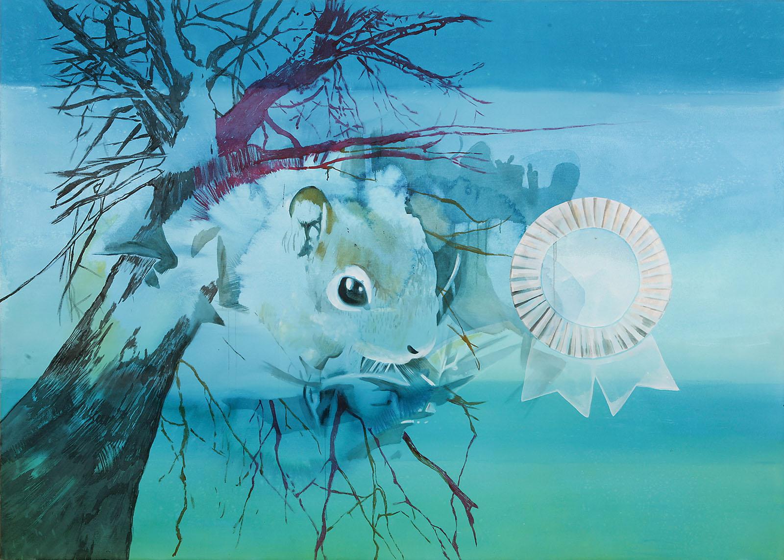 """o.T. aus """"Krähen Kommen"""", 2008, 190 x 270 cm, Mischtechnik auf Leinwand"""