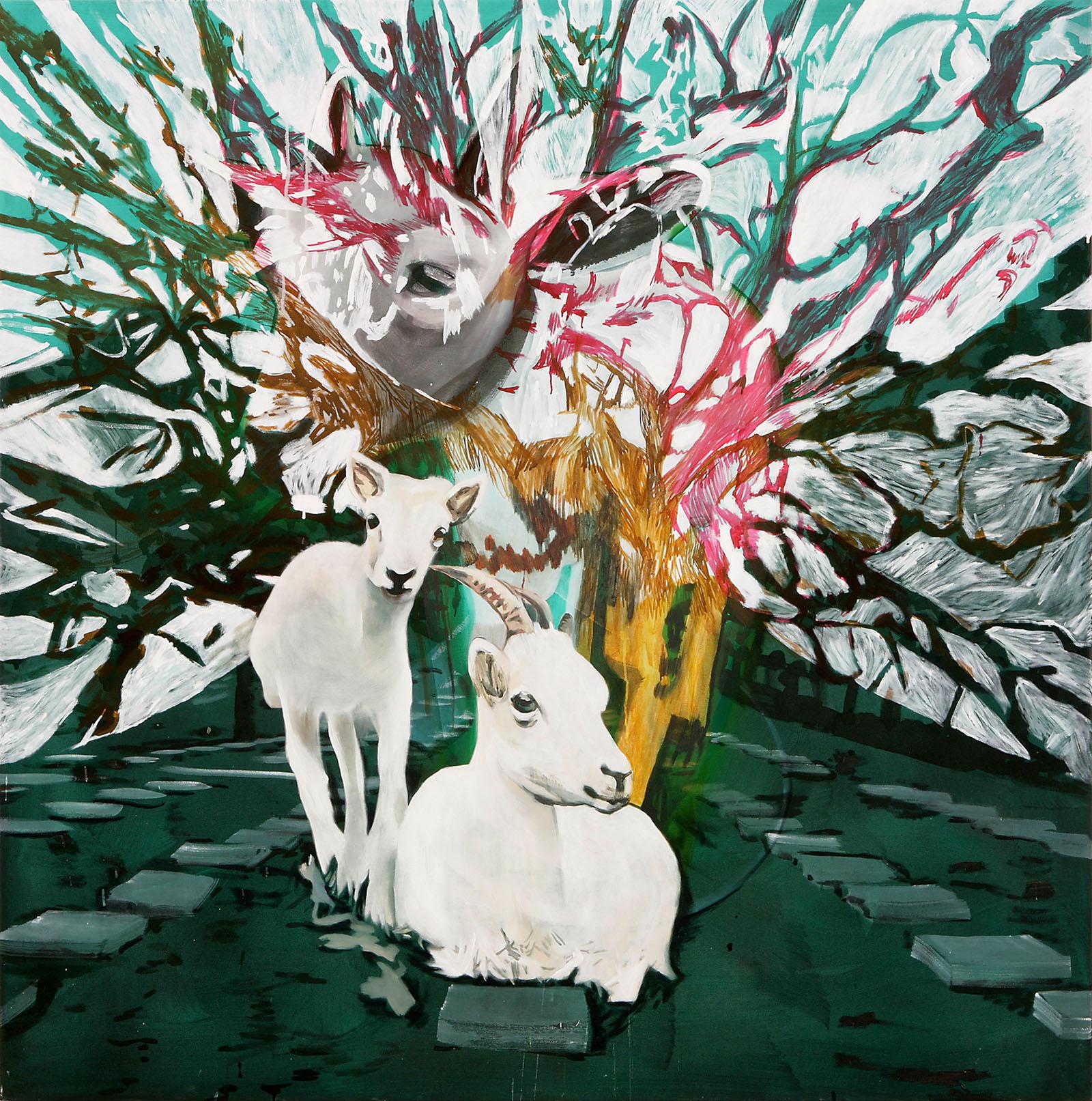 """o.T. aus """"Krähen Kommen"""", 2008, 190 x 190 cm, Mischtechnik auf Leinwand"""