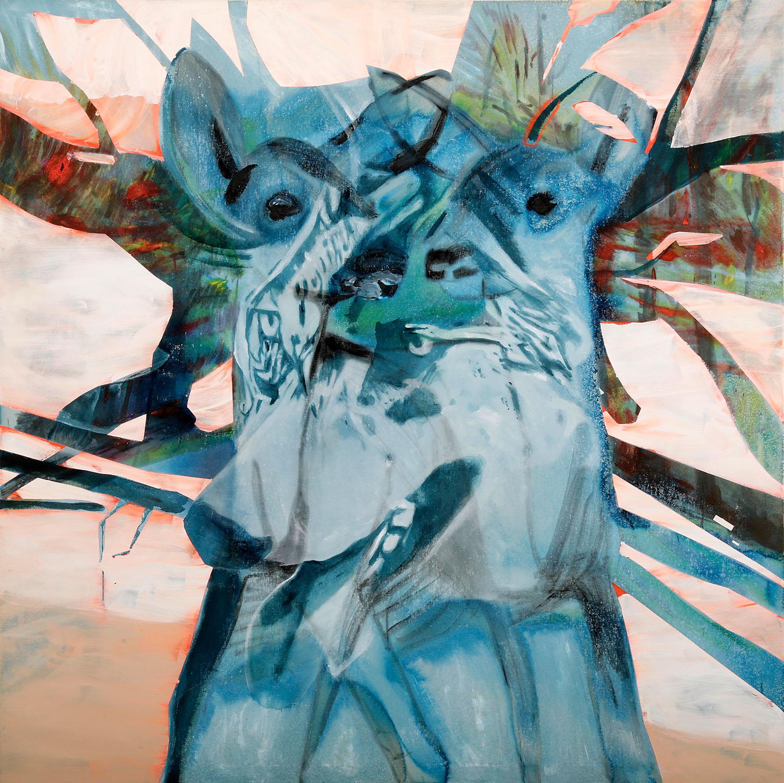 """o.T. aus """"Krähen Kommen"""", 2008, 180 x 180 cm, Mischtechnik auf Leinwand"""