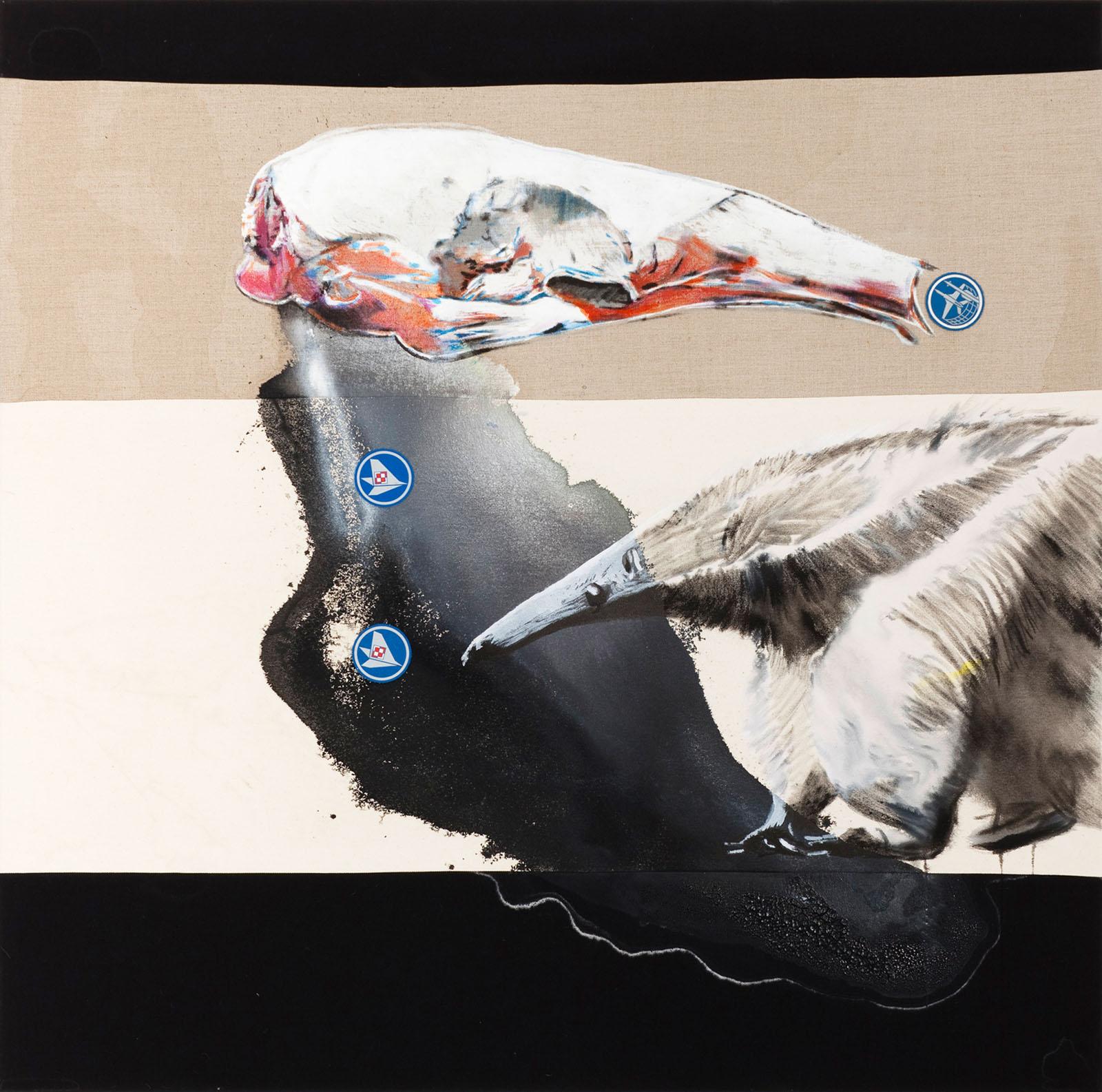 """o.T. aus """"Krähen Kommen -Titanweiß"""", 2009, 130 x 130 cm, Mischtechnik & Applikationen auf Leinwand"""