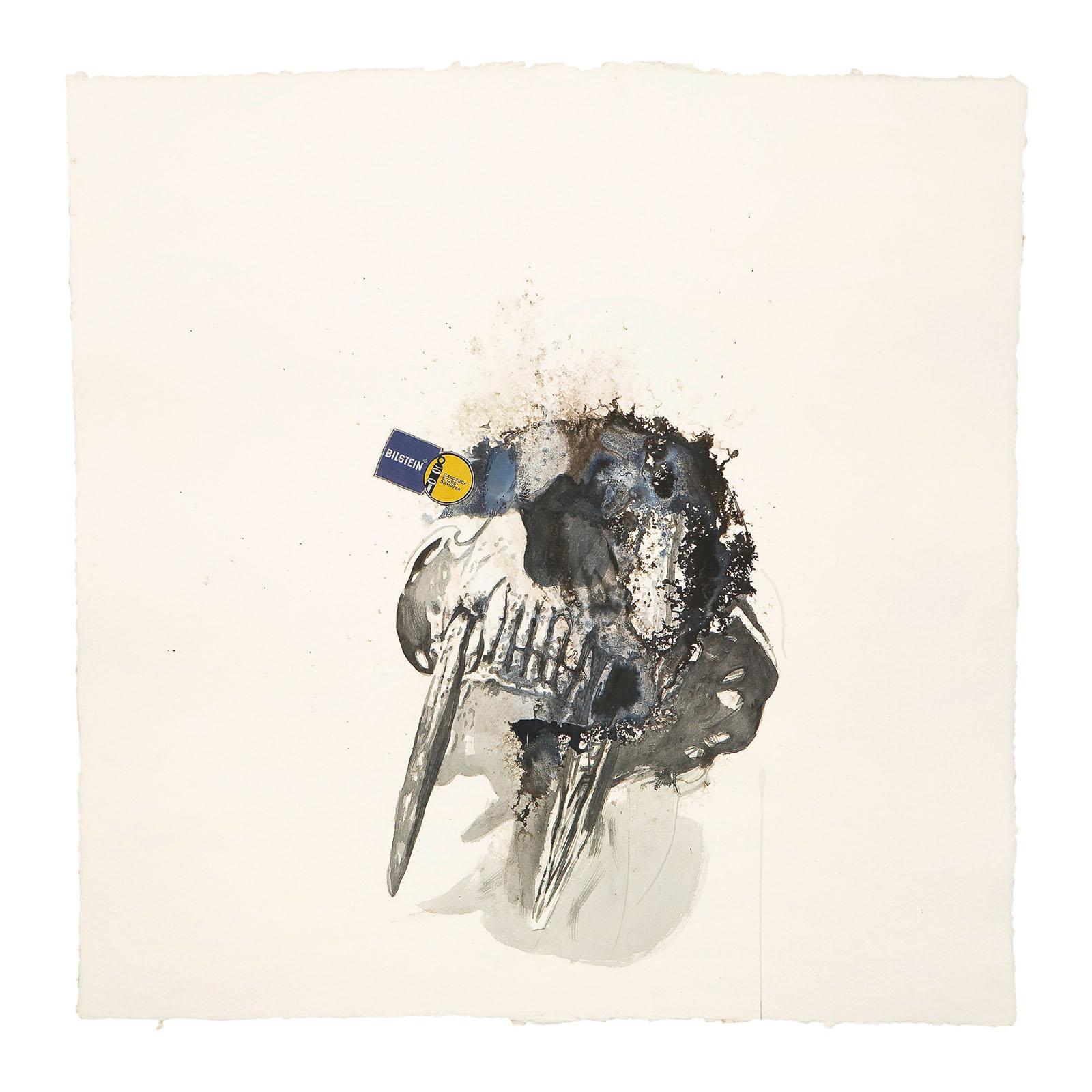 "o.T. aus ""Krähen Kommen -Titanweiß"", 2008, 105 x 105 cm, Aquarell, Tusche & Applikation auf handgeschöpftem Bütten"