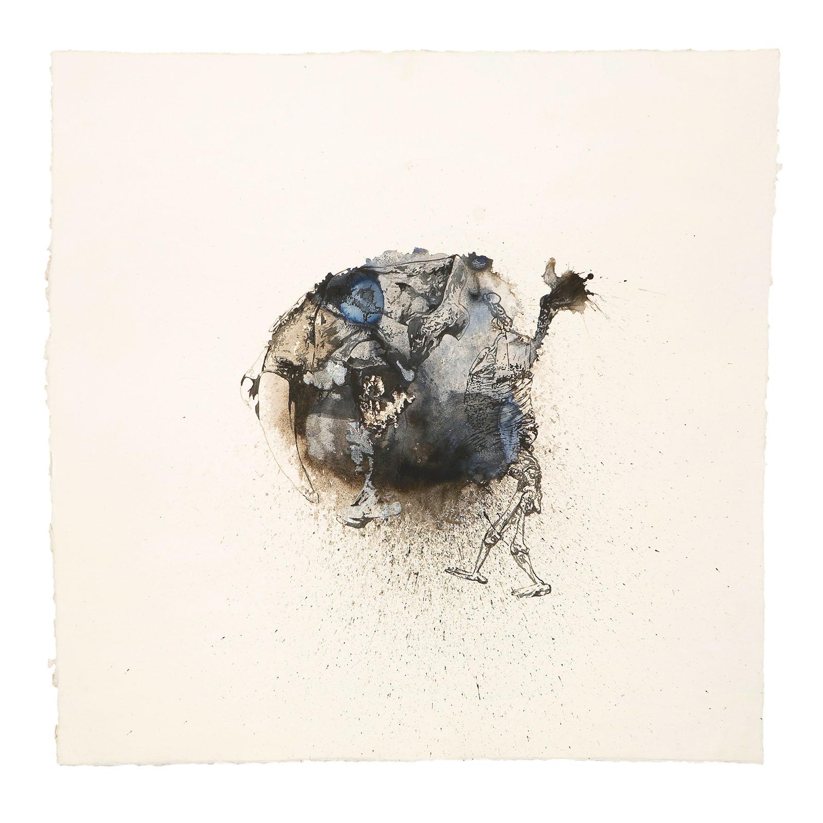 "o.T. aus ""Krähen Kommen -Titanweiß"", 2008, 105 x 105 cm, Aquarell & Tusche auf handgeschöpftem Bütten"