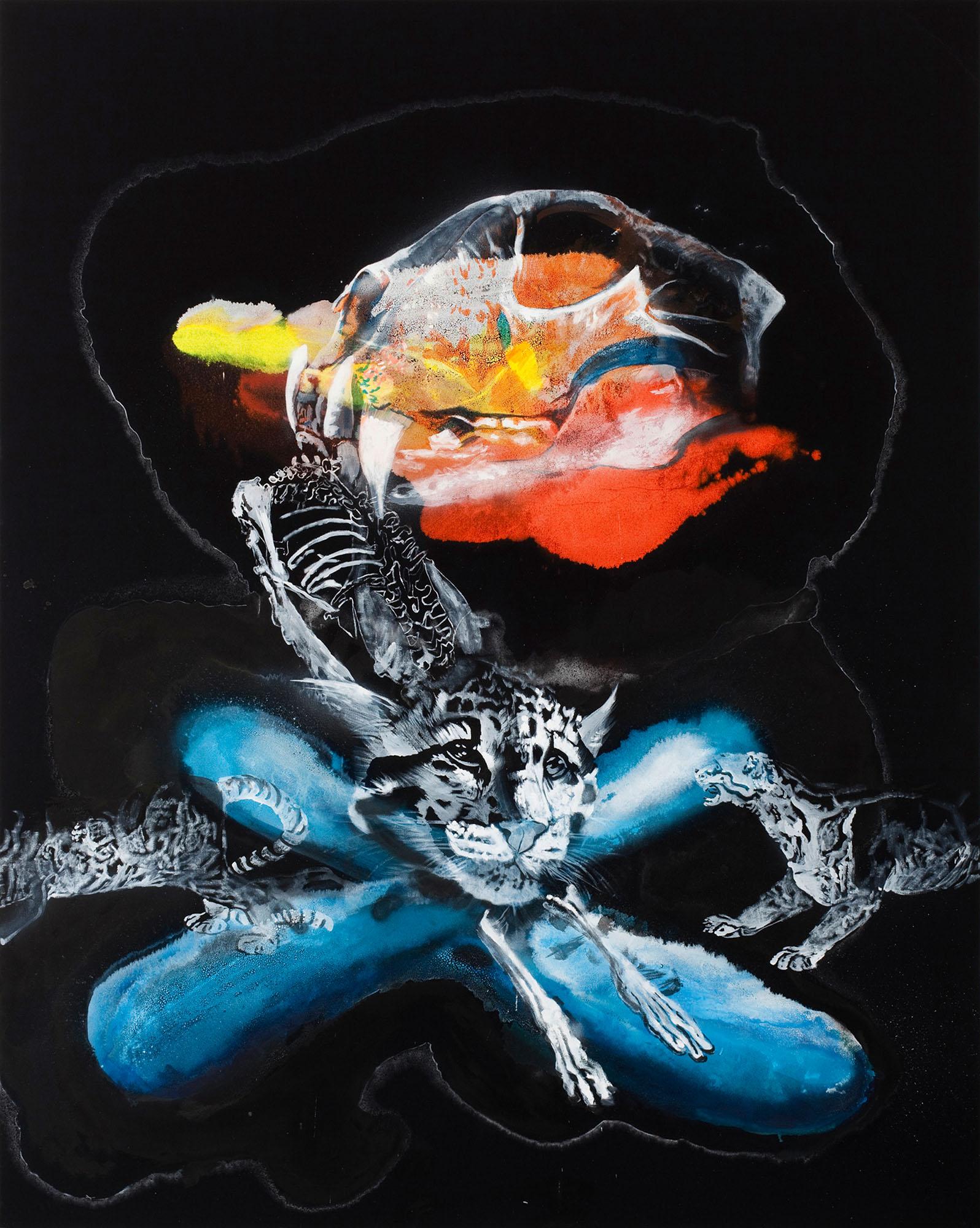 """o.T. aus """"Krähen Kommen -Titanweiß"""", 2009, 240 x 190 cm, Mischtechnik auf Leinwand"""