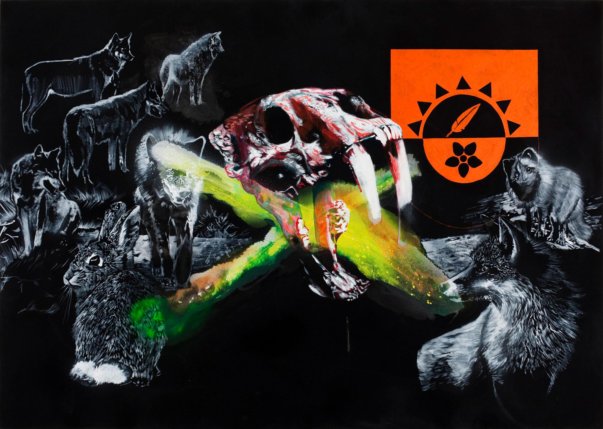 """o.T. aus """"Krähen Kommen -Titanweiß"""", 2008, 190 x 270 cm, Mischtechnik auf Leinwand"""