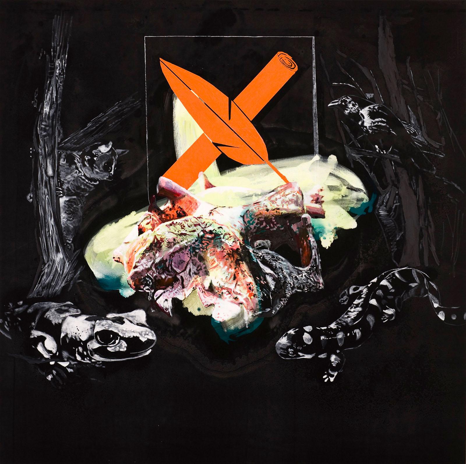 """o.T. aus """"Krähen Kommen -Titanweiß"""", 2008, 190 x 190 cm, Mischtechnik auf Leinwand"""
