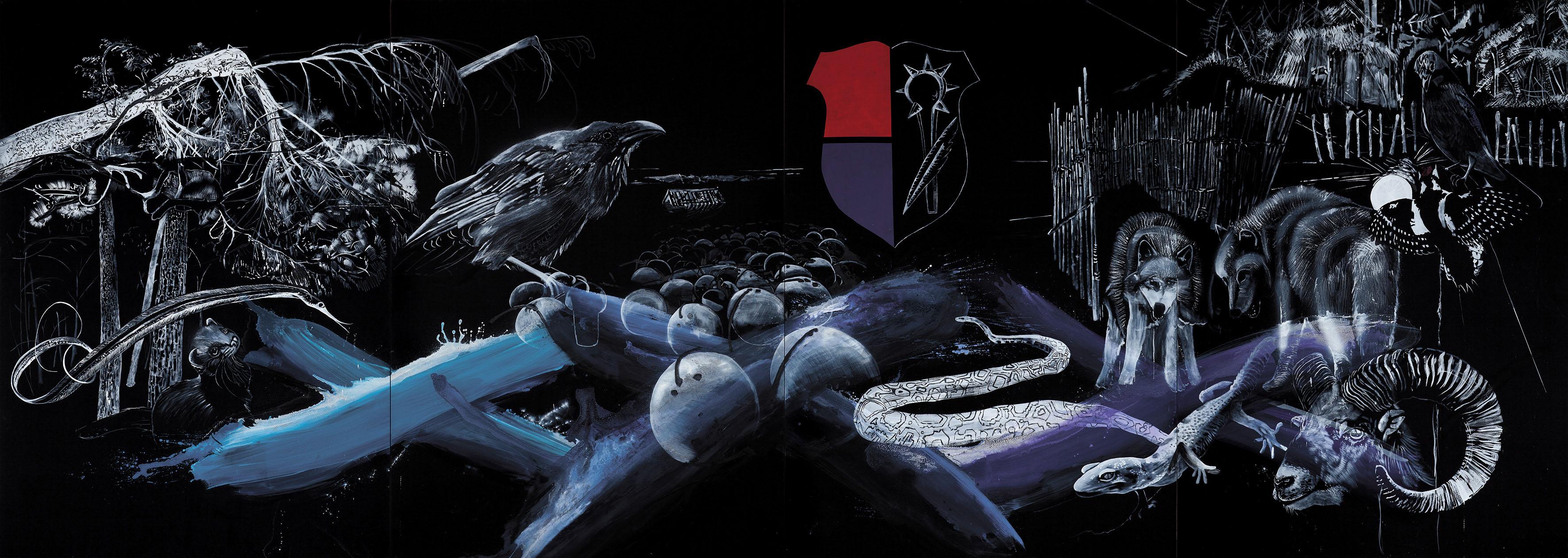 """o.T. aus """"Krähen Kommen -Titanweiß"""", 2014, 270 x 760 cm, 4-teilig, Mischtechnik auf Leinwand"""
