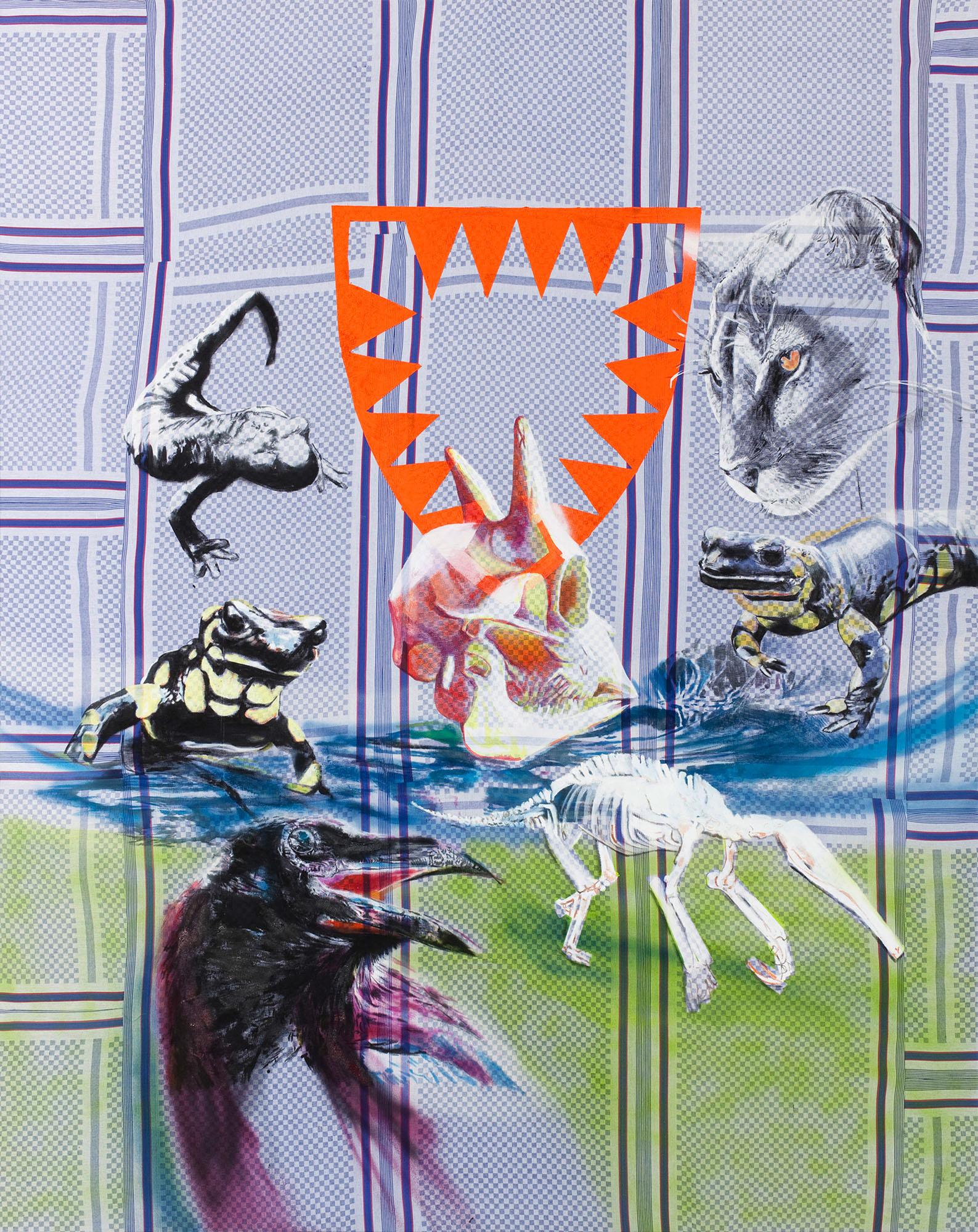 """o.T. aus """"Krähen Kommen -Titanweiß"""", 2009, 240 x 190 cm, Mischtechnik auf Geschirrtüchern"""