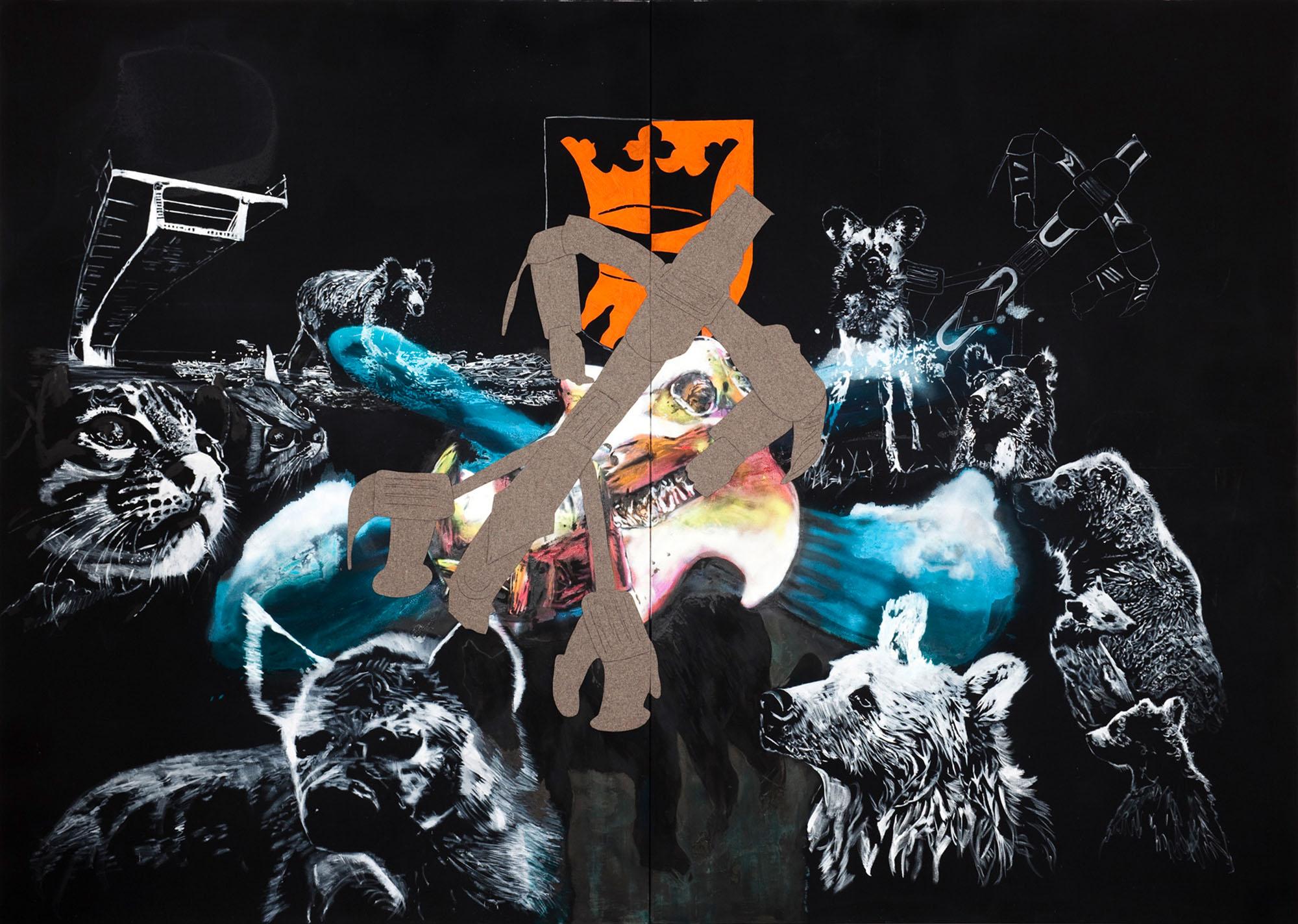 """o.T. aus """"Krähen Kommen -Titanweiß"""", 2009, 270 x 380 cm, 2-teilig, Mischtechnik & Filz-Applikation auf Leinwand"""