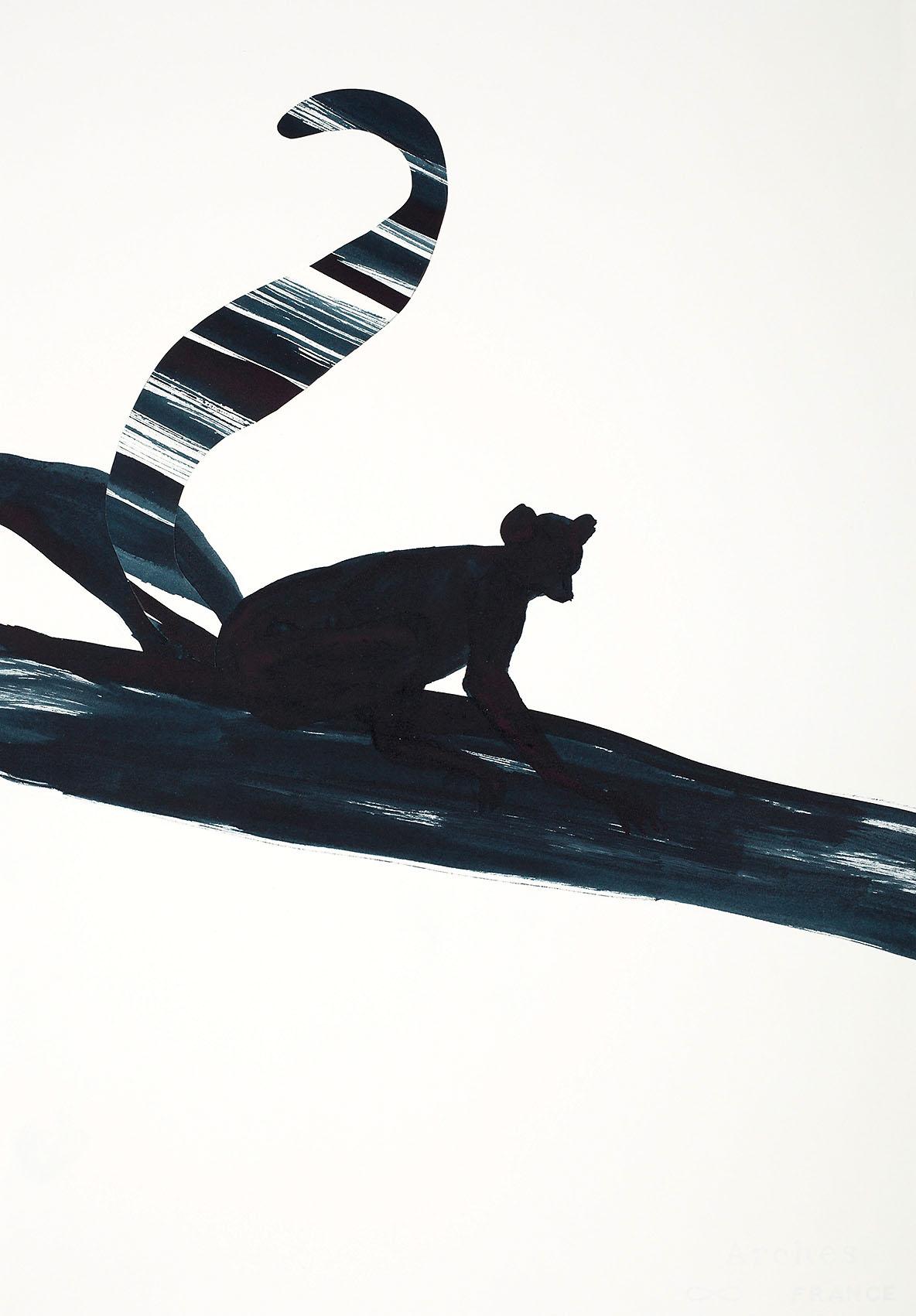 """o.T. aus """"Katta"""", 2016, 57 x 39 cm, Tusche & Collage auf handgeschöpftem Bütten"""