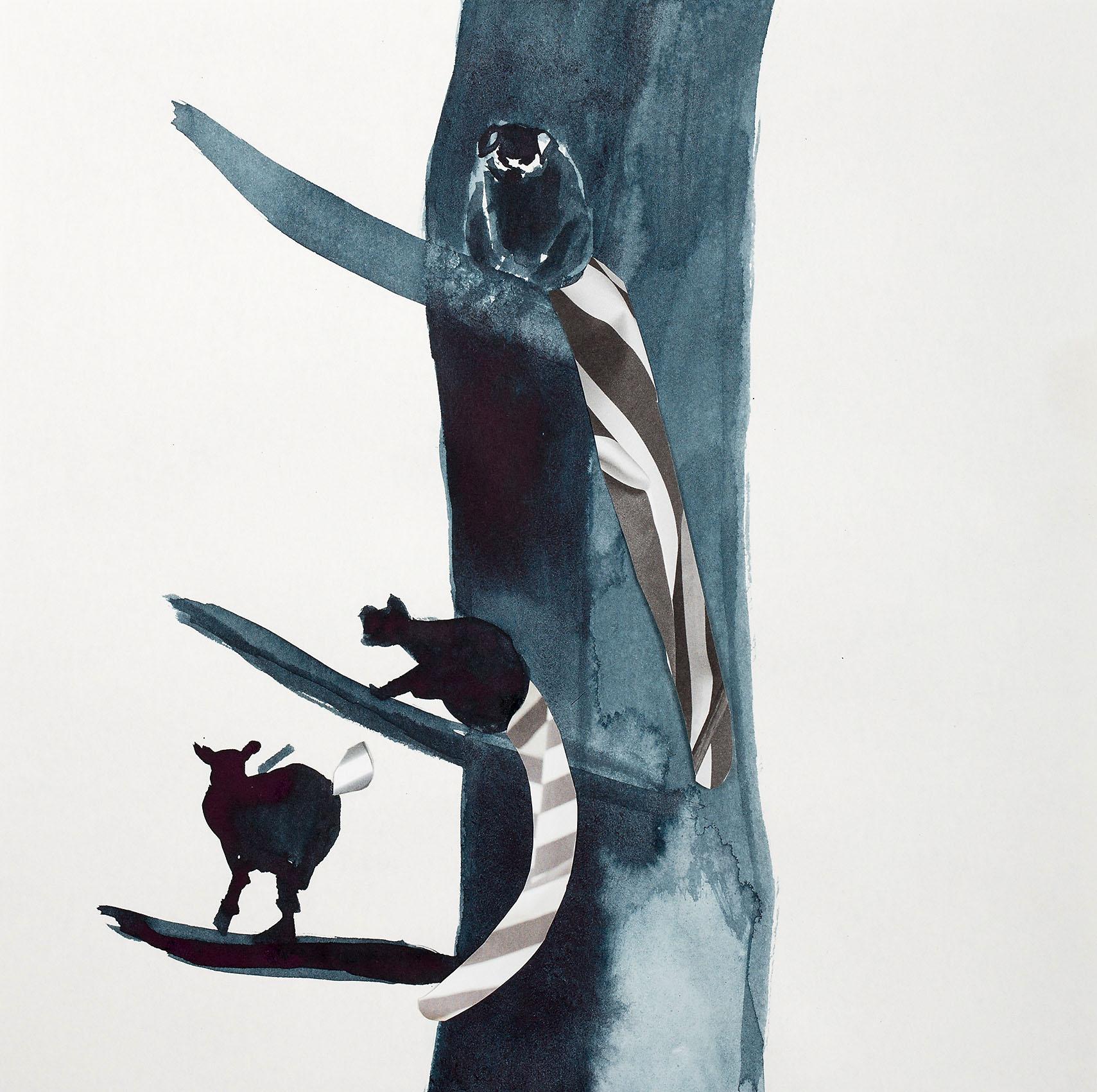 """o.T. aus """"Katta"""", 2016, 25 x 25 cm, Tusche & Collage auf Papier"""
