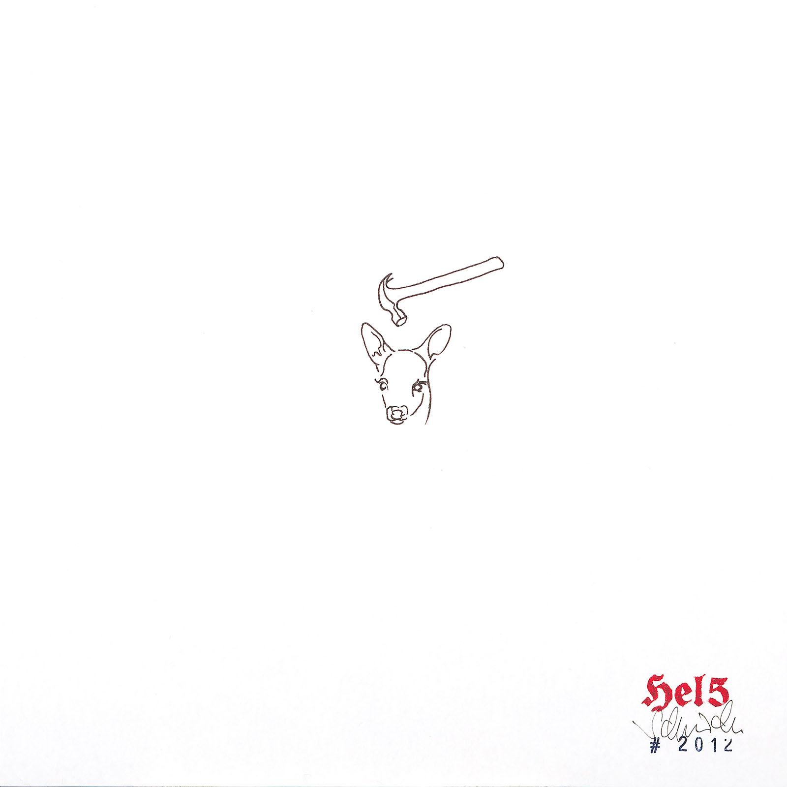"""o.T. aus """"Radical Ink"""", 2012, 25 x 25 cm, Tusche und Stempelfarbe auf Papier"""