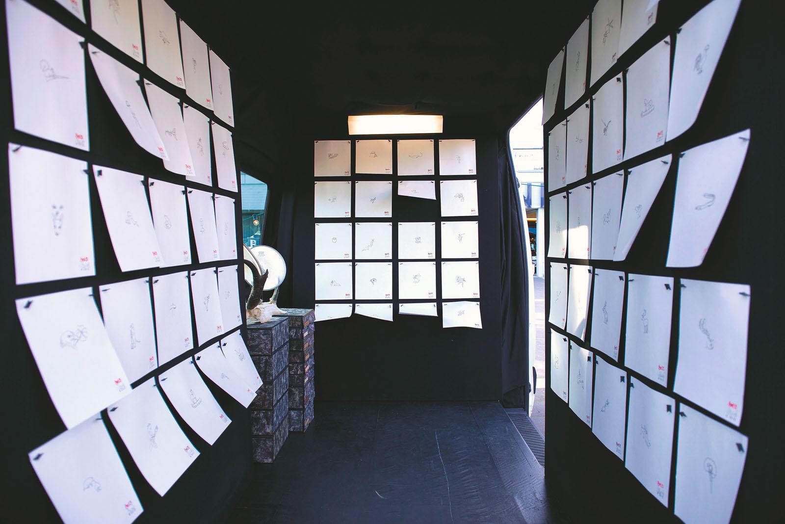 """Installationsansicht """"Hel5: Radical Ink"""", 2012, Art Cargo Bay, Jahrhunderthalle Frankfurt a. M."""