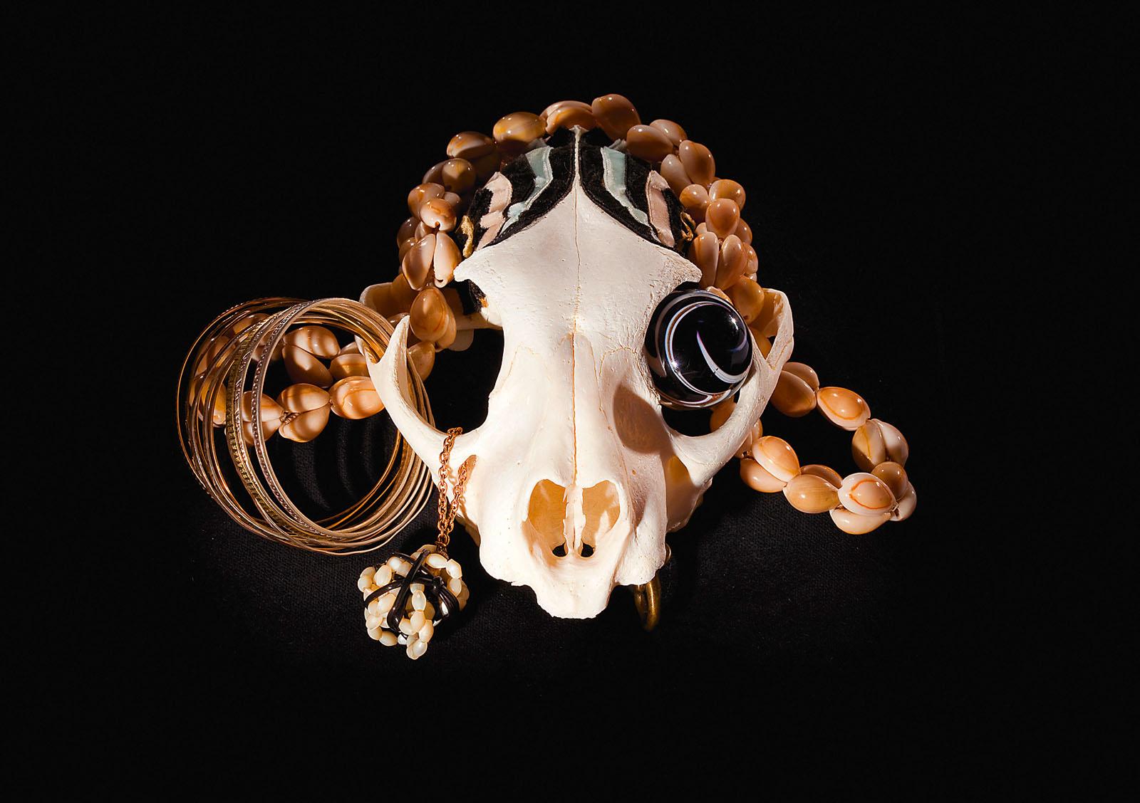 "o.T. aus ""Soft Skulls"", 2010, Luchsschädel, diverse Materialien"