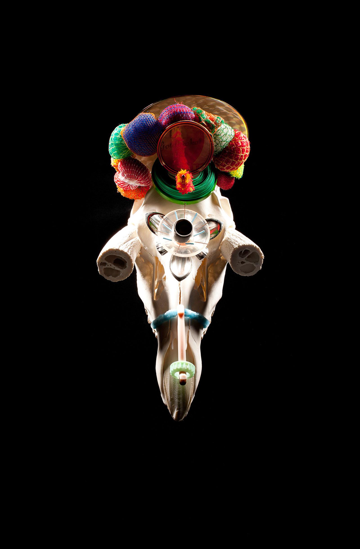 "o.T. aus ""Soft Skulls"", 2014, Hirschschädel, diverse Materialien"