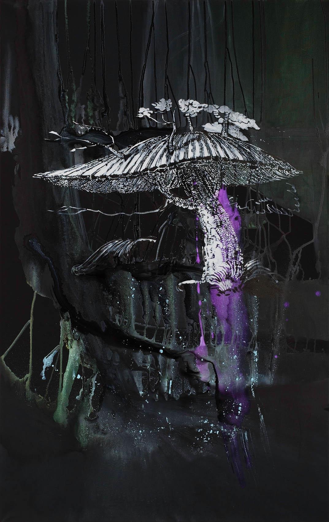 """o. T. aus """"ARCHE endemisch"""", 2020, 190 x 120 cm, Mischtechnik auf Leinwand"""